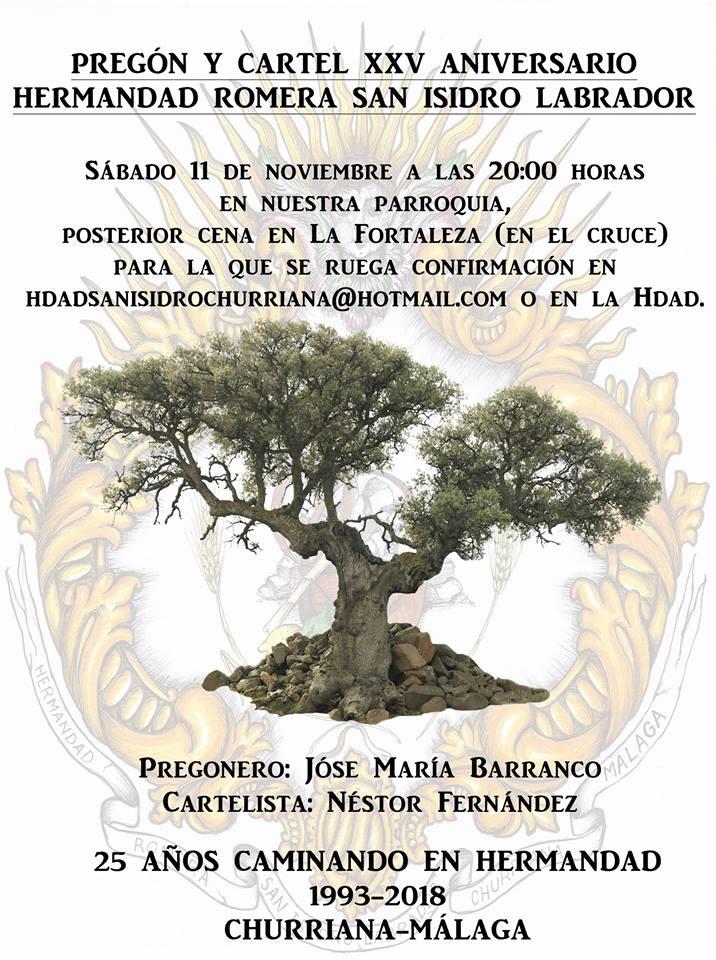 Pregón y Cartel XXV Aniversario Hermandad Romera San Isidro Labrador