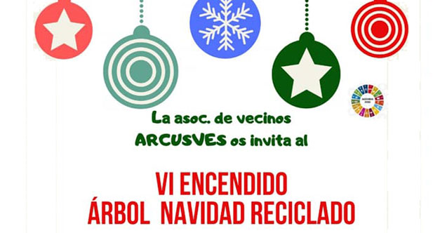 encendido arbol navidad reciclado